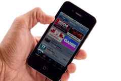 Loja do App no iPhone 4 de Apple Fotografia de Stock