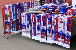 Loja do atributo dos fan de futebol. Moscovo, Rússia Imagem de Stock Royalty Free