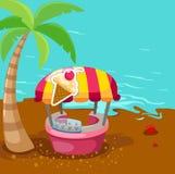 Loja do carrinho do gelado na praia ilustração stock