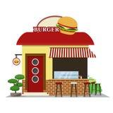 Loja do hamburguer A fachada do ícone da loja de alimento Ilustração do vetor ilustração stock