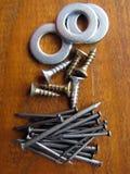 Loja do hardware Fundo da textura das arruelas do ferro Foto de Stock