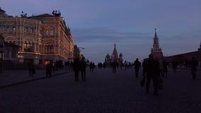 A loja do quadrado vermelho e da GOMA na noite Moscovo, Rússia Fotografia de Stock Royalty Free