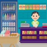Loja do supermercado com diversos produtos para a venda Imagem de Stock