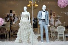 Loja do vestido de casamentos Fotos de Stock Royalty Free