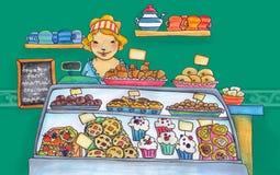 Loja doce do pasteleiro Imagem de Stock