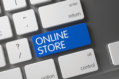 Loja em linha - chave azul 3d Foto de Stock