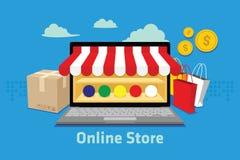 Loja em linha do comércio eletrónico Fotos de Stock Royalty Free