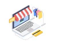 Loja em linha isométrica da roupa Conceito em linha da compra e da consumição ilustração do vetor 3d Foto de Stock