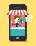 Loja em linha no telefone esperto Mercado do negócio e das Digitas Fotografia de Stock Royalty Free