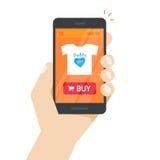 A loja em linha no vetor do telefone celular, Web site da loja do Internet no smartphone seleciona à disposição ilustração stock