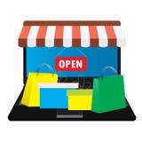 Loja em linha Sacos de compras ilustração stock