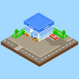 Loja exterior com estacionamento e carro, ilustração stock
