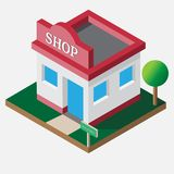 A loja isométrica abre 24 horas ilustração stock