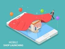 Loja móvel app que lança o conceito isométrico liso do vetor Ilustração do Vetor