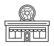 Loja ou café dos anéis de espuma Ilustração lisa do vetor do esboço Projeto Quadro indicador com a filhós saboroso grande com esm ilustração do vetor