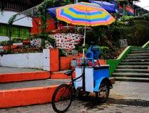 Loja pequena local em uma bicicleta que vende a bebida sob um guarda-chuva brilhante e colorido em Ámérica do Sul fotos de stock