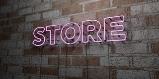 LOJA - Sinal de néon de incandescência na parede da alvenaria - 3D rendeu a ilustração conservada em estoque livre dos direitos Imagem de Stock Royalty Free
