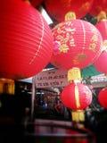 Loja vermelha chinesa da luz da lanterna em chinatown Banguecoque Tailândia no ano novo chinês 2015 Fotos de Stock