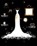Loja Wedding, vestido branco e acessório Imagem de Stock