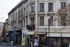 Lojas e construções velhas na cidade velha Centru Vechi Foto de Stock