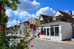 Lojas e flores coloridas da rua fotografia de stock royalty free