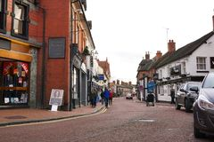 Lojas independentes da rua principal, Nantwich, Cheshire, Inglaterra Imagem de Stock