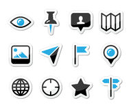 Lokaci mapy podróżna ikona ustawiająca -   Obraz Stock