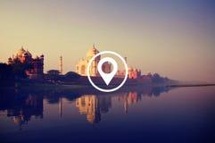Lokaci nawigaci miejsca przeznaczenia podróży pozyci pojęcie Obrazy Royalty Free