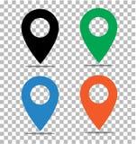 Lokaci wałkowa ikona na przejrzystym szpilka na mapa znaku Płaski styl royalty ilustracja