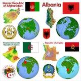 Lokacja Albania, Afganistan, Angola, Algieria Zdjęcia Stock