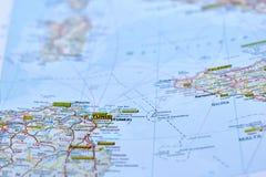 Lokacja miasto Tinis na mapie Obrazy Stock
