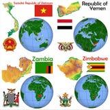 Lokacja Wietnam, Jemen, zambiowie, Zimbabwe Fotografia Stock