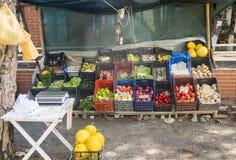 Lokal albansk nya frukter och wegatablesmarknad Royaltyfria Foton