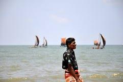 Lokal fiskare i Negombo, Sri Lanka Royaltyfri Foto