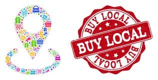 Lokal markörsammansättning för köp av mosaiken och nödlägeskyddsremsa för försäljningar vektor illustrationer