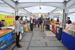 Lokal marknadsplats i Seoul Arkivbilder