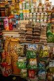 Lokal matmarknad i den Cuzco byn, Peru Arkivfoton