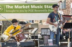 Lokal musikmusikband som utför på bondes marknad Arkivbilder