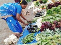 Lokal södra asiatisk grönsaksäljare Royaltyfria Bilder