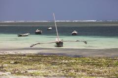 Lokal träfiskebåtlågvattenDiani strand Kenya Royaltyfri Bild
