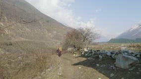 Lokala bönder bär tunga vide- korgar på huvuden i Nepal Manaslu område arkivfilmer