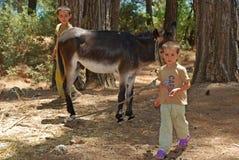 Lokala barn med åsnan, Turkiet Royaltyfri Fotografi