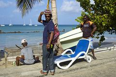 Lokala män i Saint Lucia som är karibisk Royaltyfria Bilder
