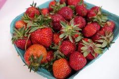 Lokale frische reife Erdbeeren vom lokalen Frischwaremarkt Stockfoto