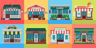 Lokale Geschäftsfassaden Lebensmittelgeschäfttüren, alte Boutiquengeschäftsgebäudefront und flacher Vektorsatz der Einzelhandelsg lizenzfreie abbildung