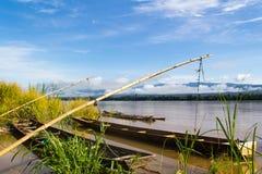 lokale Lange staartboot in mekong Thaise rivier, Royalty-vrije Stock Foto's