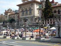 Lokale markt in een plaats Stock Afbeelding