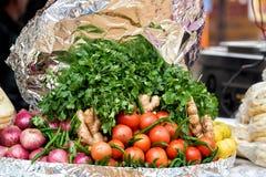 Lokale markt verse groente, India Stock Foto