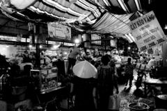 Lokale markttijd stock afbeeldingen