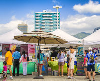 Lokale Openluchtmarkt, Honolulu, Hawaï Stock Foto's